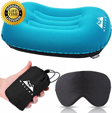 WELLAX Ultralight Camping Pillow - Compressible, Compact, Inflatable, Comfortable, Ergonomic Pillow for Neck & Lumbar Support