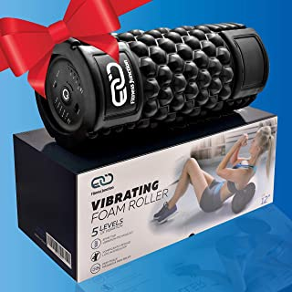 Vibrating Foam Roller - Back Pain Relief - Trigger Point Foam Roller - 5 Vibration Settings - Powerful Rechargeable Battery!