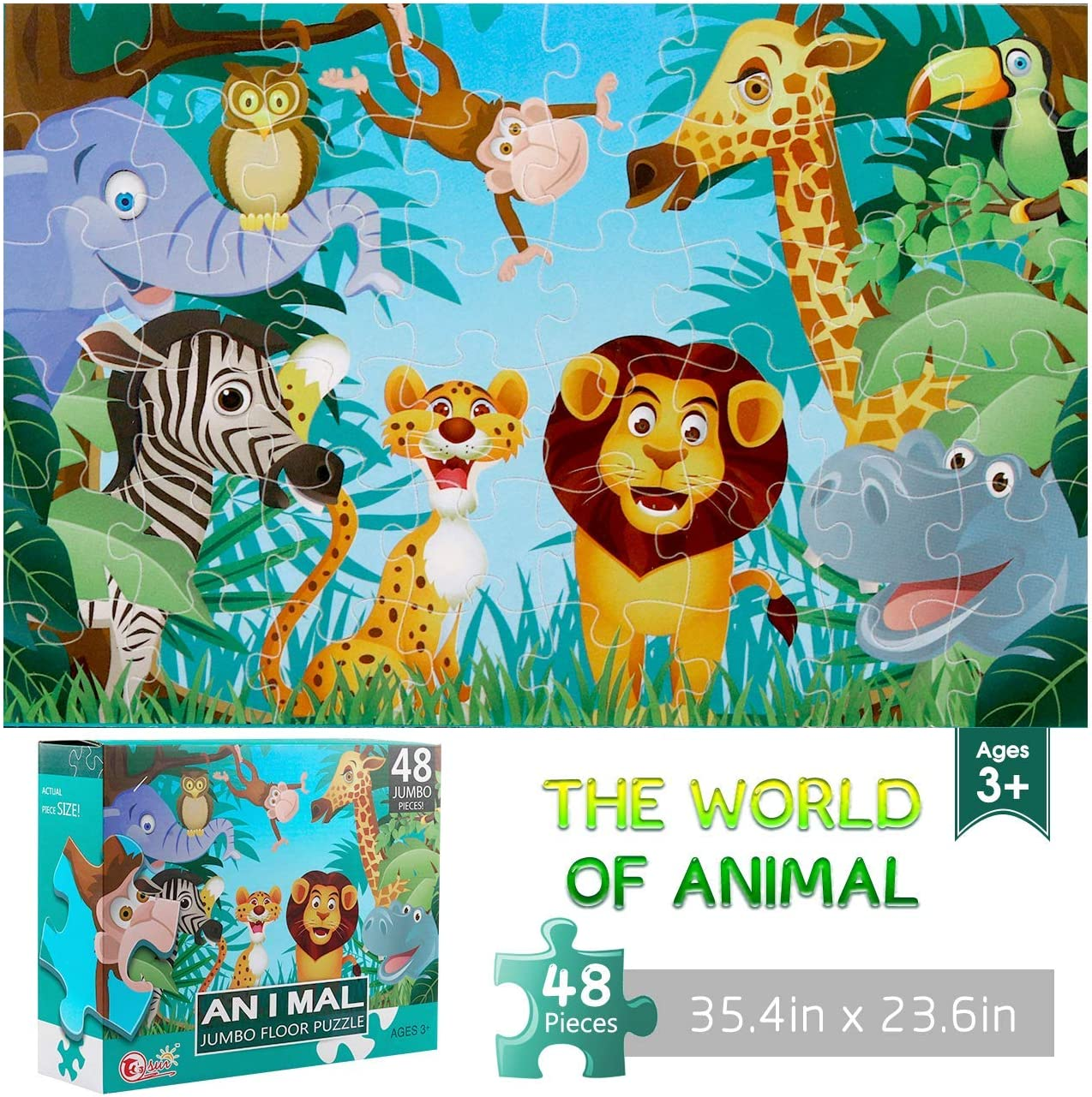 Jumbo Floor Puzzle sale for Kids Animal 48 price Large Puzzles Piece Jigsaw