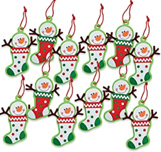 12 - Snowman Stocking Ornament Craft Kit - Crafts for Kids & Ornament Crafts