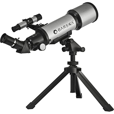 BARSKA AE10100 Refractor Telescope with Tabletop Tripod & Carry Case, Silver