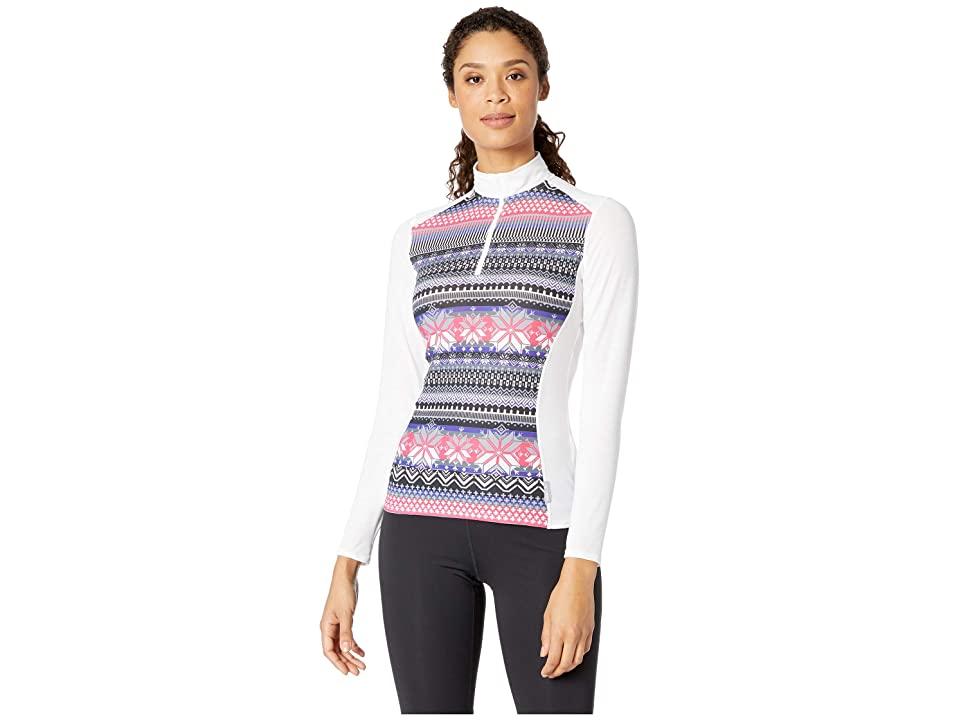 Hot Chillys MTF Print Zip-T (Prima/White) Women's Long Sleeve Pullover