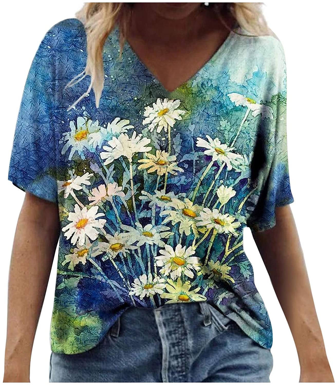 Shirts for Womens, Womens Summer T-Shirt Floral Printed Casual Blouse Color Short Sleeve Shirts Womens Tops