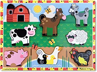 Melissa & Doug Farm Chunky Puzzle (Preschool, Chunky Wooden Pieces, Full-Color Pictures, 8 Pieces, Great Gift for Girls and Boys - Best for 2, 3, and 4 Year Olds)