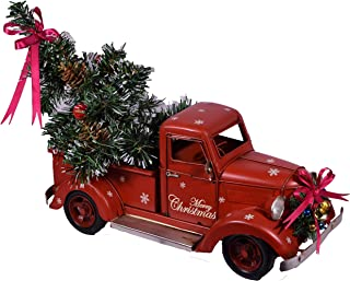 Giftland Red Metal Rustic Pickup Truck with Christmas Tree Decor Retro Chic Decoration Charm Vintage Look Style Industrial Farmhouse Ornament with Bed - Approx. 18