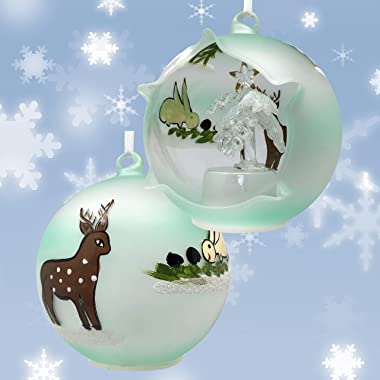 LED Christmas Ornament with Xmas Tree Figure - Lighted Glass Ball with Hand Painted Holiday Designs - Lighted Tree Inside The