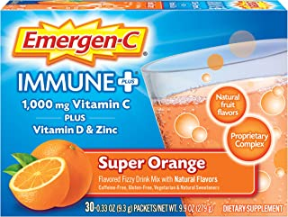 Emergen-C Immune+ System Support Dietary Supplement Drink Mix With Vitamin D, 1000mg Vitamin C, 0.33 Ounce Packets (Super ...