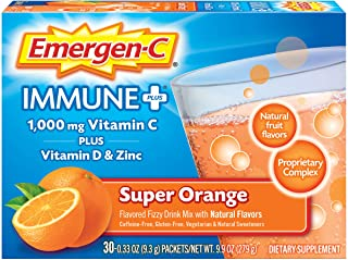 Emergen-C Immune+ 1000mg Vitamin C Powder, with Vitamin D, Zinc, Antioxidants and Electrolytes for Immunity, Immune Suppor...