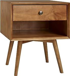 Walker Edison Furniture Company Mid Century Modern Wood Nightstand Side Bedroom Storage Drawer and Shelf Bedside End Table, 1, Caramel