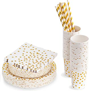 250 Piece Polka Dot Gold Disposable Paper Plates and Party Supplies   Includes 50 Disposable Plates, 50 Dessert Plates, 50 8 Ounce Cups, 50 Paper Straws, 50 Napkins   Decorative Dinnerware