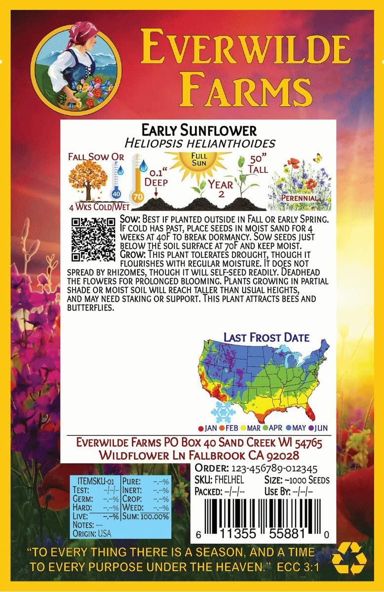 25 Grey Stripe Sunflower Wildflower Seeds Everwilde Farms Mylar Seed Packet