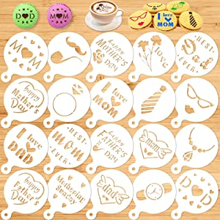 Konsait Cookie Stencil Template, Reusable Cake Decorating Stencils for Mother's Day Father's Day Birthday Wedding Royal Ic...
