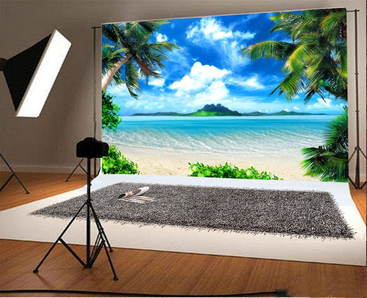 Leowefowa 16x10FT Sand Beach Backdrop Seaside Island Coconut Tree Blue Sky White Cloud Backdrops for Photography Kids Adults Summer Holiday Vinyl Photo Background Studio Props