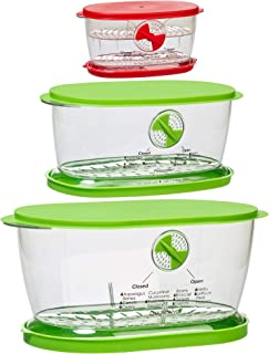 Prepworks by Progressive 4.7 Quart Lettuce Keeper, 1.9 Quart Fruit and Vegetable Keeper and 2 Cup Berry Keeper 3 Piece Set