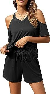 Chriselda Conjuntos de Pijama de AlgodónConjunto Casual Mujer Short con Cuello V sin Tirantes con Tie-Dye de Verano