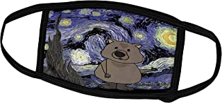 3dRose Face Mask Large, Cute Funny Wombat in Starry Night Art