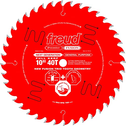 """popular Freud 10"""" x 40T Next sale Generation Premier Fusion General Purpose Blade for Crosscuts (3/8"""" to 3-1/2"""") & Rips (3/4"""" to 1-1/2"""") wood, laminate, veneered plywood, hardwoods & outlet online sale melamine. (P410) outlet online sale"""