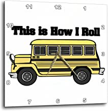 3dRose DPP_102559_1 This is How I Roll Short Yellow School Bus-Wall Clock, 10 by 10-Inch