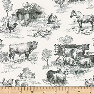Kaufman Down On The Farm Toile Black Quilt Fabric