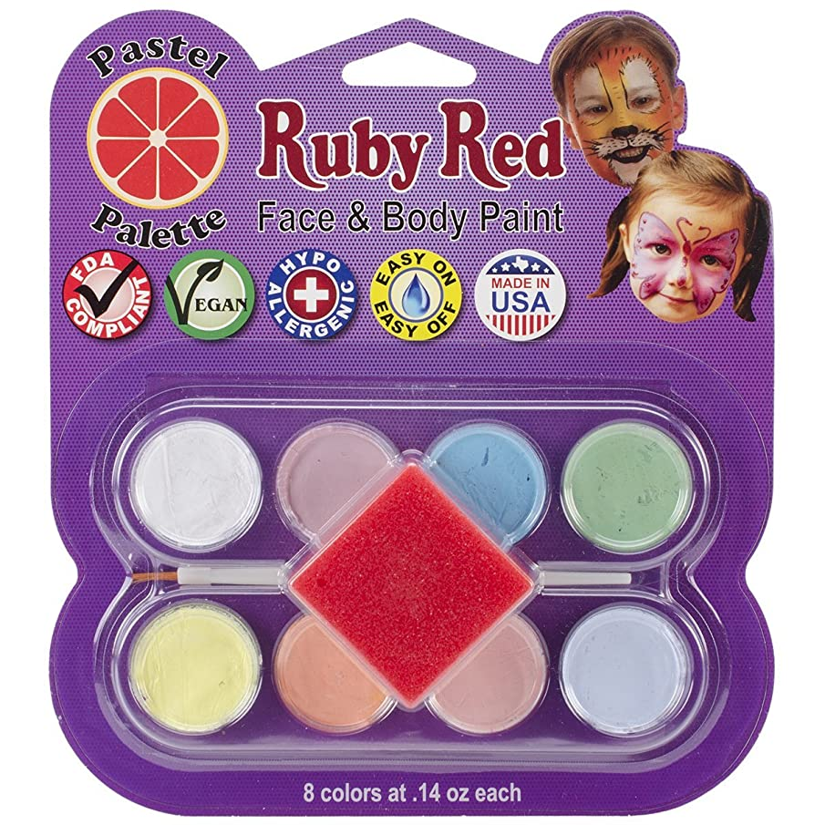 Ruby Red Paint, Inc. Face Paint, 2ML X 8 Colors - Pastel Palette