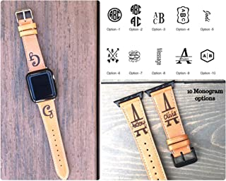 Personalized Watch Band Compatible with Apple Watch Band 38mm, 40mm, 42mm, 44mm, Leather watch band, Monogram apple watch band -Ships in 3-5 Business Days