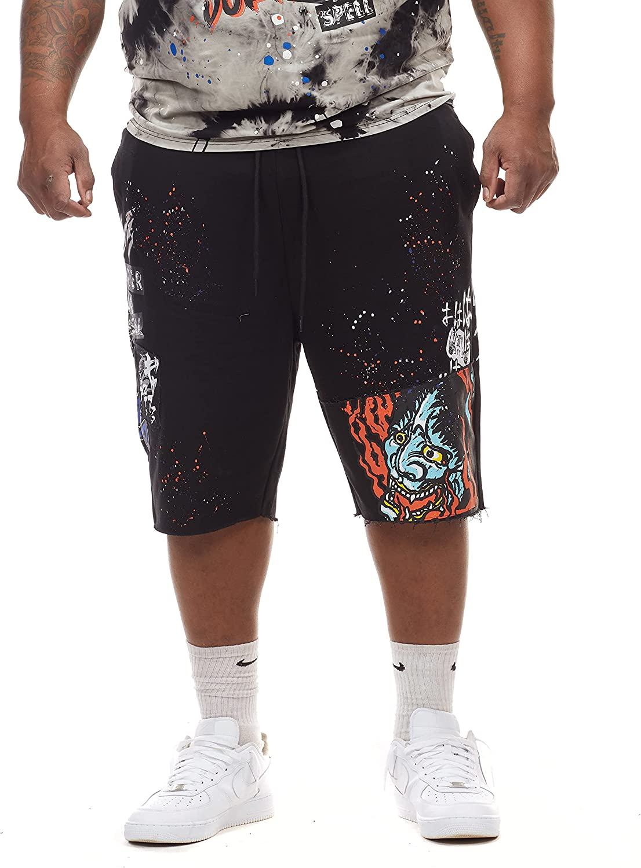 Smoke Rise Men's Big and Tall Fashion Rip and Repair Denim Shorts