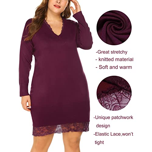IN VOLAND Women s Plus Size Long Sweater V Neck Sweater Knitted Dresses  Knee Length Sweater a61b6cfc1