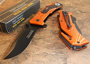 TAC-FORCE Spring Assisted Open EMT ORANGE Tactical RESCUE Folding Pocket Knife