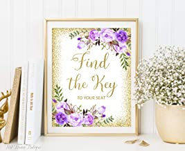 Blanche989 Find The Key to Your Seat Sign Lavender Wedding Sign Purple Wedding Sign Printable