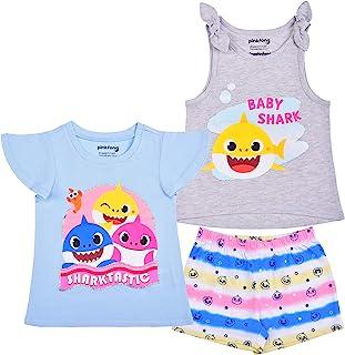 Nickelodeon Baby Shark Girl's 3 Pack Short Sleeves Tee, Sleeveless Shirt and Shorts Set for Kids