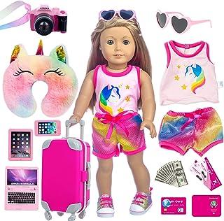لباس و لوازم جانبی عروسک 18 اینچی XFEYUE 23 عدد آمریکایی - چمدان چمدان ، بالش ، عینک آفتابی ، دوربین ، گذرنامه ، تلفن همراه ، کامپیوتر بازی عروسک مسافرتی دنده بازی ست مناسب عروسک دختر 18 اینچی آمریکایی