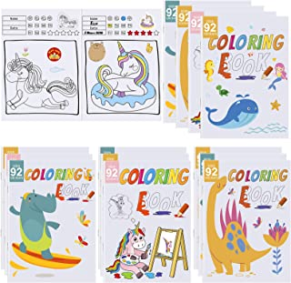 Elcoho 12 Pack Coloring Books with 92 Stickers with 4 Styles Animal Patterns Including Forest Animals, Sea Animals, Unicor...