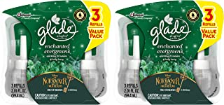 Glade Plugins Scented Oil Refills - Holiday Collection 2018 - Enchanted Evergreens - 3 Count Oil Refills Per Package - Pack of 2 Packages