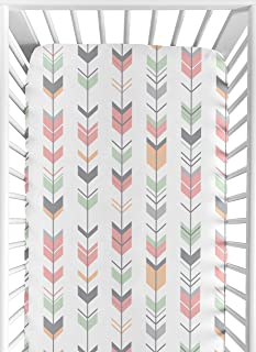 Sweet Jojo Designs Fitted Crib Sheet for Grey, Coral and Mint Woodland Arrow Baby/Toddler Bedding Set Collection - Arrow Print