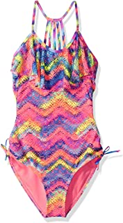 Big Girls' Sonic Multi Printed Crochet One Piece Swimsuit