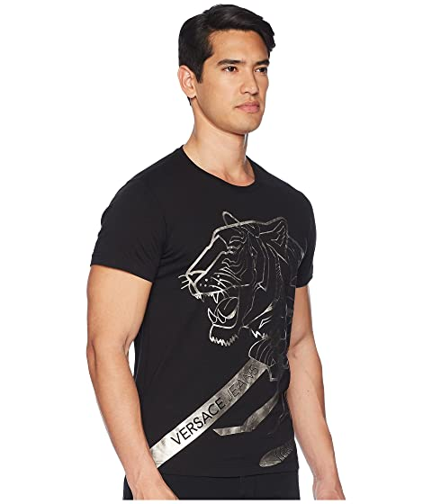 Versace Jeans Metallic Tiger Tee Shirt Black Cheap For Nice Cheap Sale Excellent Outlet Where To Buy Sale Prices Buy Cheap 2018 d94pXVv1