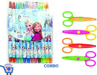 KARTsHiTech™ Colorful Twistup Rolling Crayons Pen for Kids Stylish and Attractive (Pack of 12 Colors) (Frozen/Princess/Barbie) with 4 Pieces Art and Craft Zig zag Paper Shaper Scissor