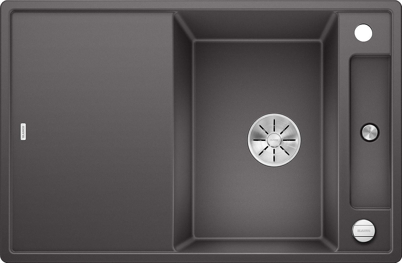 Weiß Axia III 45 S, Küchenspüle aus Silgranit PuraDur, reversibel, Felsgrau   mit InFino-Ablaufsystem, inklusiv Glas-Schneidbrett und Ablauffernbedienung; ; 523184
