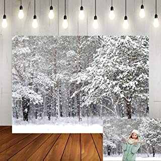 Winter Backdrop Winter Christmas White Frozen Forest Snow World Family Holiday Party Background Decorations Xmas Winter ONE-derland Photo Booth Props Portrait Backdrop 7x5ft Vinyl