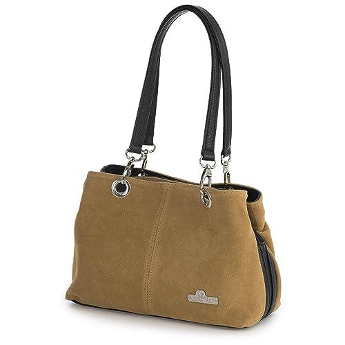 dd470599c32b LiaTalia - Lush Italian Suede Womens Small Twin Top Multi Zip Pockets  Shoulder Bag - HOLLY