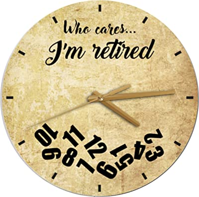 Personalized Retirement Clock - Who Cares... I'm Retired Wooden Clock