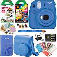 Fujifilm Instax Mini 9 Instant Camera (Cobalt Blue), 1 Rainbow Film Pack, 1 Double Pack (White) Instant Film, case, 4 AA Rechargeable Battery's with Charger, Square Photo Frames & Accessory Bundle