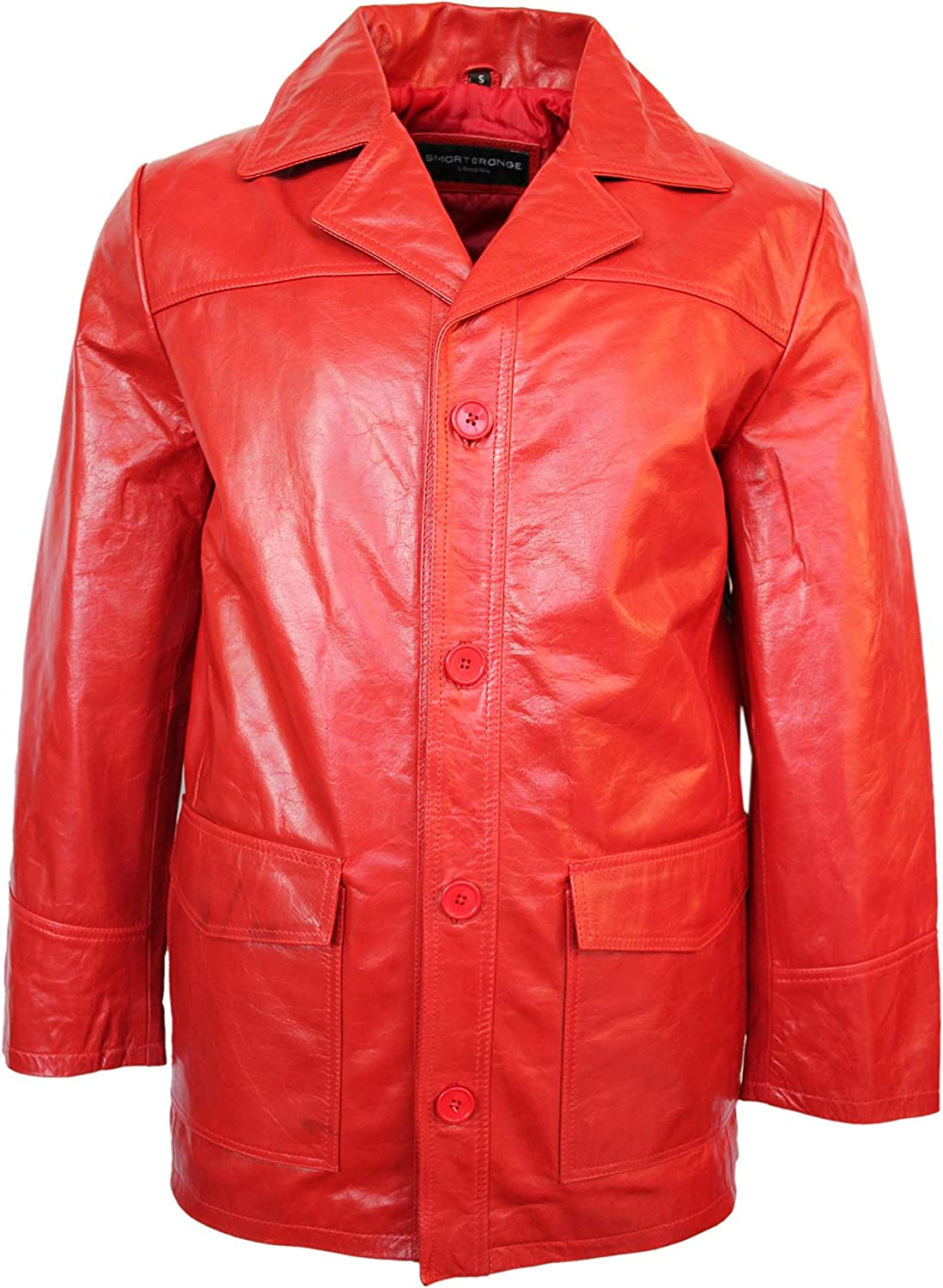Fight Club' Men's RED Hollywood Film Movie Style Leather Reefer Jacket Coat