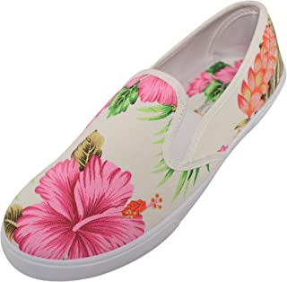 ABSOLUTE FOOTWEAR Womens Casual Summer/Holiday/Travel Canvas Shoes with Palm Tree Design