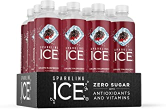 Sparkling Ice, Grape Raspberry Sparkling Water, with Antioxidants and Vitamins, Zero Sugar, 17 fl oz Bottles (Pack of 12)