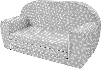 Canapé enfants MoMika | Sofa-Light Enfants | Enfant dans le fond pliable Canapé 2 en 1 et lit | 0-4 ans (Hearts) (Hearts)