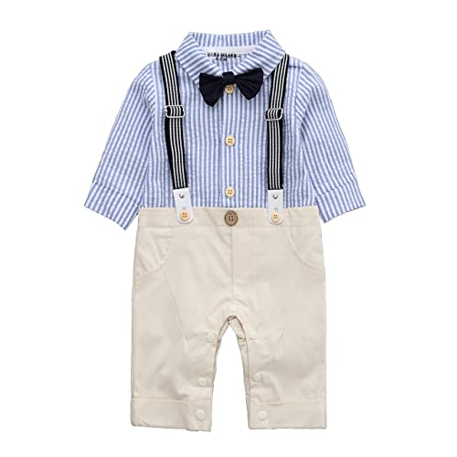 0a3fc5991 HMD Baby Boy Long Sleeve Gentleman White Shirt Waistcoat Bowtie Tuxedo  Onesie Jumpsuit Overall Romper