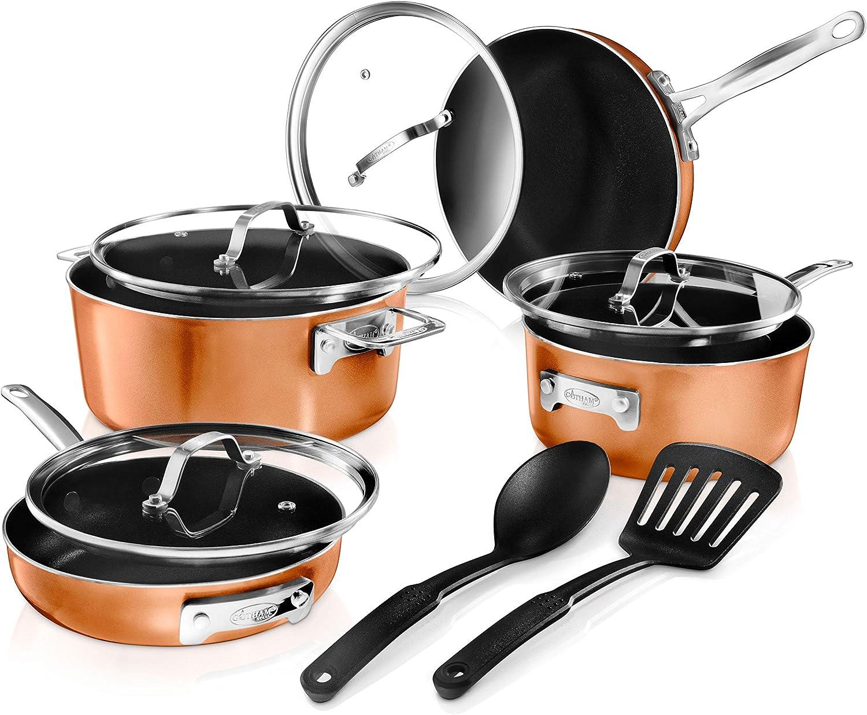 Max 79% OFF GOTHAM STEEL 10 Piece Copper Black Set Cookware online shop