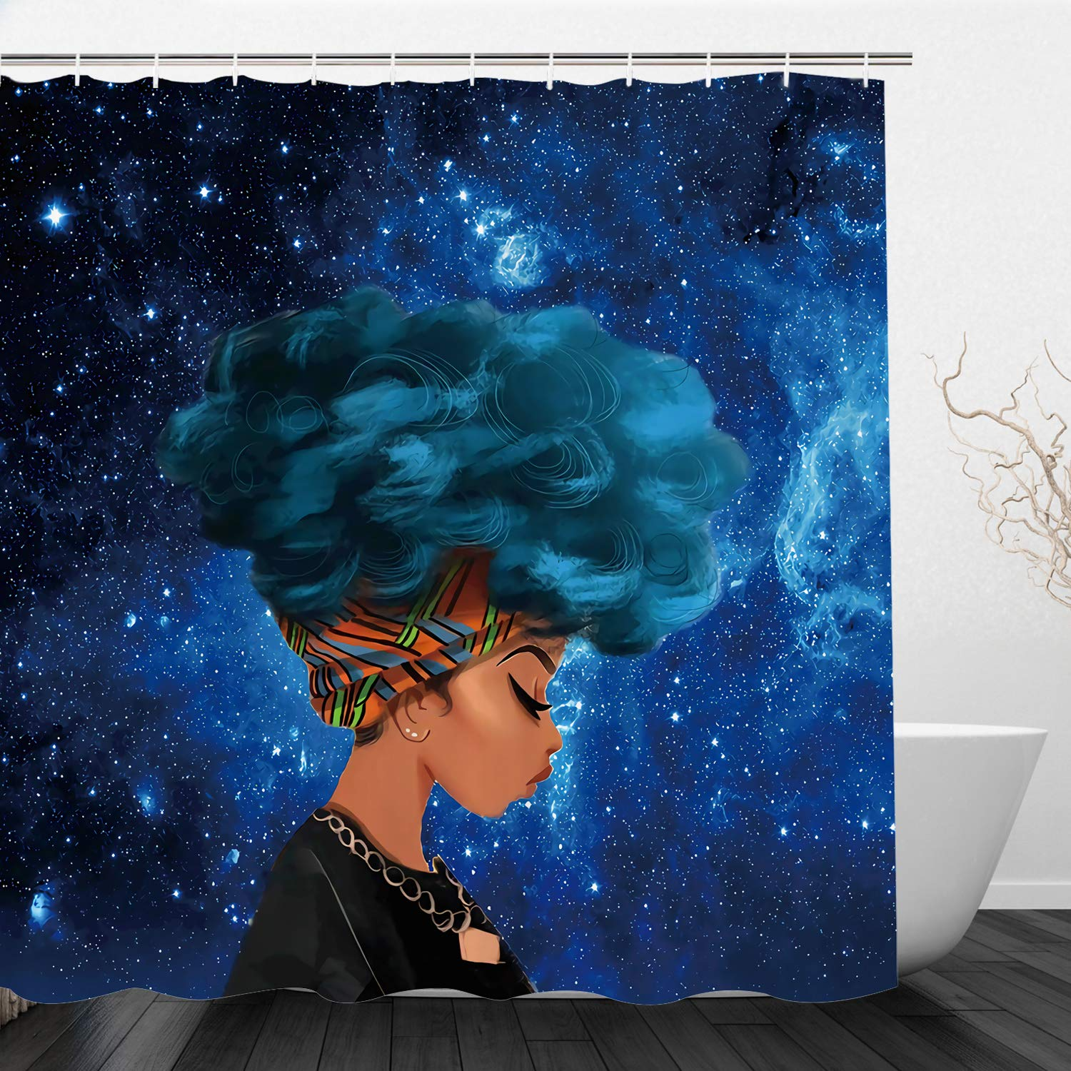 Afro Female Shower Curtain Bathroom Hippie Waterproof Curtain Decor With Hook