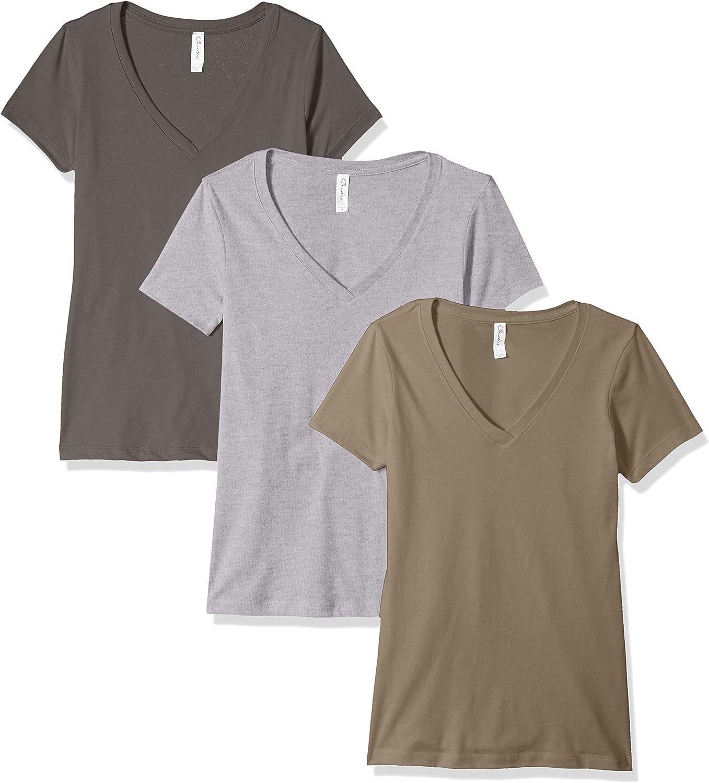 Clementine Apparel Women's Petite Plus 3-Pack Performance Ideal Short Sleeve V-Neck T-Shirt